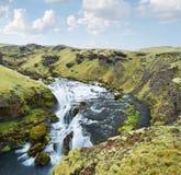 Gorge verte et la rivière Skoga, Islande Photographie stock libre de droits