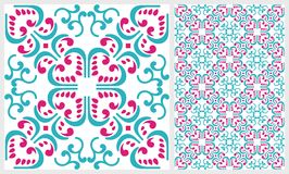Gorgeous abstract blue pink tile seamless pattern design. Moroccan, Portuguese or Mediterranean tiles. For wallpaper print, patter Stock Photography