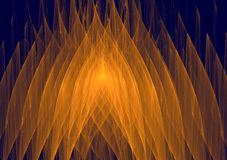 Beautiful gold flames abstract design fractal composition. Gorgeous abstract bright orange geometrical graphic pattern on a dark blue background generated by Royalty Free Stock Image