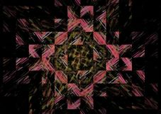 Gorgeous abstract fractal composition on a dark background. Spectacular abstract colorful mosaic fractal elements on a black background generated by computer vector illustration