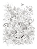 Gorgeous adult coloring page Royalty Free Stock Photos
