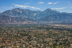 Gorgeous Aerial View of Mount Baldy, Orange County, California,. Traditional american houses in Orange County Royalty Free Stock Photo