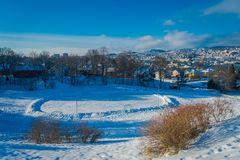 Gorgeous aerial view of the norwegian city with buildings in the horizont in Trondheim during the winter. In Norway Stock Photography