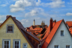 Gorgeous Aerial View at Rothenburg ob der Tauber. Aerial view of some beautiful buildings and half-timbered buildings with gable roofs in the city center seen royalty free stock photo