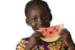 Gorgeous African black child eating some watermelon, isolated on Stock Photography