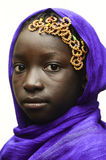 Gorgeous African Schoolgirl Posing Outdoors with a Violet Head S royalty free stock image