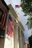 Gorgeous American flags on front of building Royalty Free Stock Images