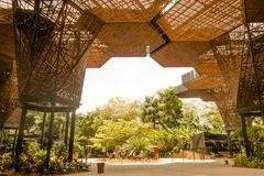 Gorgeous architectural woodden structure in a botanical greenhouse in Medellin Royalty Free Stock Photography