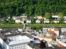 Gorgeous architecture along the Salzach river of Salzburg Royalty Free Stock Images