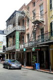 Gorgeous architecture with metal railings andbalconies, Felix`s Bar, New Orleans, 2016 Stock Photo