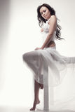 Gorgeous asian woman in white dress Stock Photo
