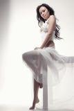 Gorgeous asian woman in white dress Stock Photo