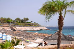 Gorgeous azure sandy Playa del Duque in Costa Adeje on Tenerife Royalty Free Stock Images
