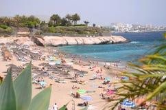 Gorgeous azure sandy Playa del Duque in Costa Adeje on Tenerife. Spain Royalty Free Stock Photos