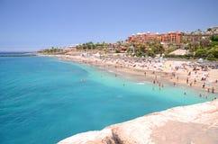 Gorgeous azure sandy Playa del Duque in Costa Adeje on Tenerife Royalty Free Stock Photo