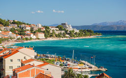Gorgeous azure scene of summer croatian landscape in podgora, dalmatia, croatia Royalty Free Stock Images