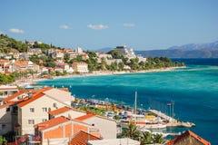 Gorgeous azure scene of summer croatian landscape in podgora, dalmatia, croatia Royalty Free Stock Photos