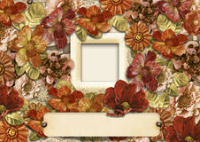 Gorgeous background of vintage flowers with frame for photos Stock Images