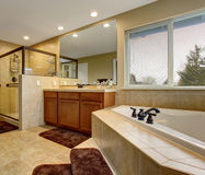 Gorgeous bathroom with glass shower, and large bath. Royalty Free Stock Photography