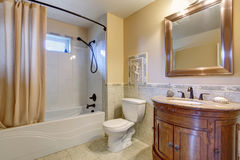Gorgeous bathroom with tan shower curtain. Royalty Free Stock Photo