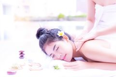 Gorgeous beautiful asian woman feels relaxed, comfortable, happy royalty free stock photography