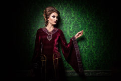 Gorgeous beautiful woman dressed vintage clothes in retro interi Royalty Free Stock Photography