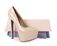 Gorgeous beige shoes and purse Royalty Free Stock Image