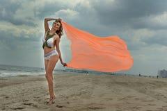 Gorgeous bikini model posing on the beach. Royalty Free Stock Photo