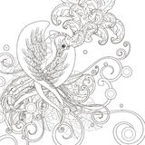 Gorgeous bird coloring page Stock Image