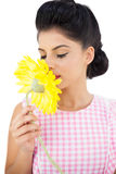 Gorgeous black hair model smelling a flower Royalty Free Stock Photo