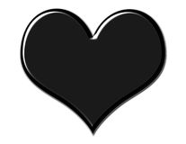 Gorgeous Black Heart. Black beveled heart on white background royalty free illustration