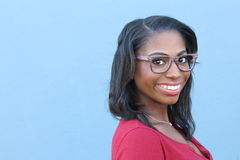 Gorgeous Black Woman wearing Framed Spectacles with Copy Space Stock Images