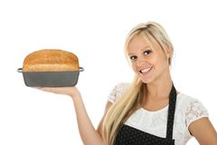 Gorgeous Blond with Freashly Baked Bread Royalty Free Stock Photos