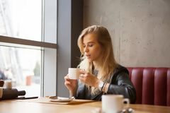 Gorgeous blond girl resting in cafe. Drinking cappucino royalty free stock photo