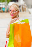 Gorgeous Blond Girl Shopping Royalty Free Stock Image