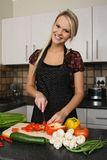 Gorgeous Blond Preparing Vegetables Royalty Free Stock Photo