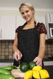 Gorgeous Blond Preparing Vegetables Royalty Free Stock Photography