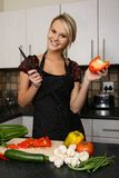 Gorgeous Blond Preparing Vegetables Stock Photos