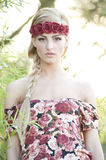 Gorgeous Blond Wearing Red Rose Crown Royalty Free Stock Photo