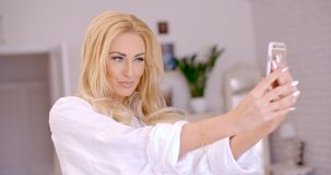 Gorgeous Blond Woman Taking Selfie Photo Royalty Free Stock Images