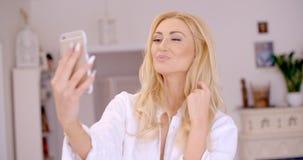 Gorgeous Blond Woman Taking Selfie Photo Royalty Free Stock Photo