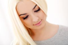 Gorgeous blonde with beautiful face Stock Photo