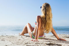 Gorgeous blonde in bikini and sunglasses on the beach posing Royalty Free Stock Photo