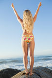 Gorgeous blonde in floral bikini lifting arms on a rock at beach Stock Photography