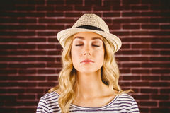 Gorgeous blonde hipster with straw hat Stock Photography