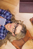 Gorgeous blonde hipster using smartphone Royalty Free Stock Photo