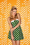 Gorgeous blonde model in retro fashion Royalty Free Stock Image