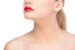 Gorgeous blonde model wearing red lips Royalty Free Stock Photos