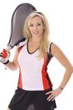 Gorgeous blonde ready to play tennis Stock Photo