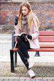 Gorgeous blonde in the street Stock Image